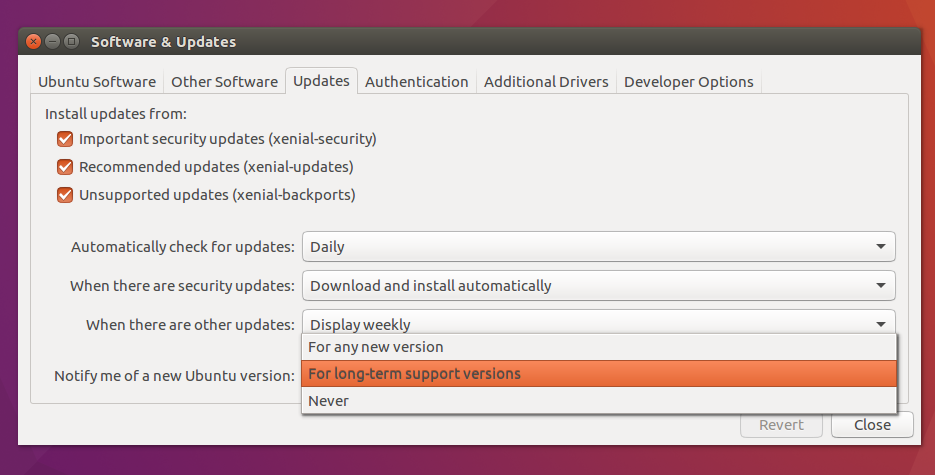 Software Updater settings