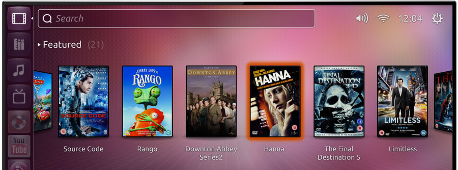 Ubuntu TV's featured movie window