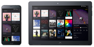 Phone and tablet on the albums screen
