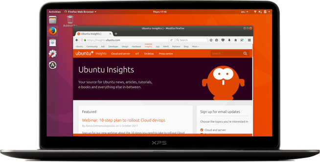 Laptop running Ubuntu 17.10, showing insights.ubuntu.com