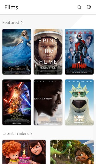 Screenshot of Films selection on Ubuntu phone