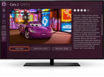 Ubuntu TV features include the ability to browse the latest movies and TV