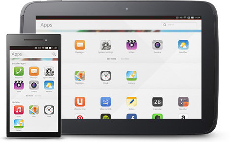 Ubuntu running on tablet and phone side by side