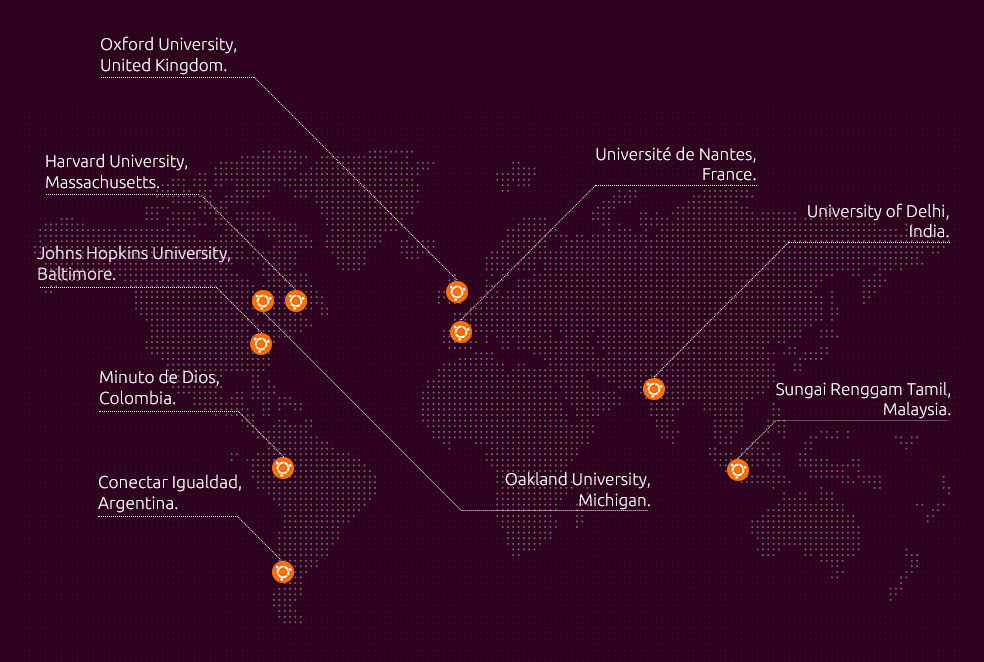 map of key education users of Ubuntu