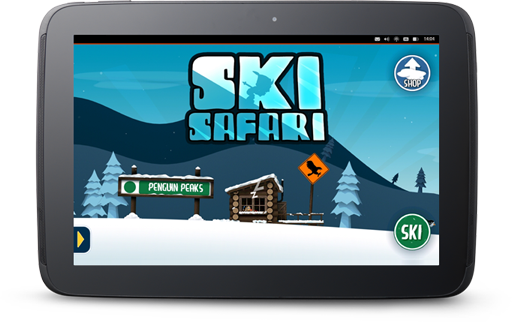 Ski Safari game running on an Ubuntu tablet