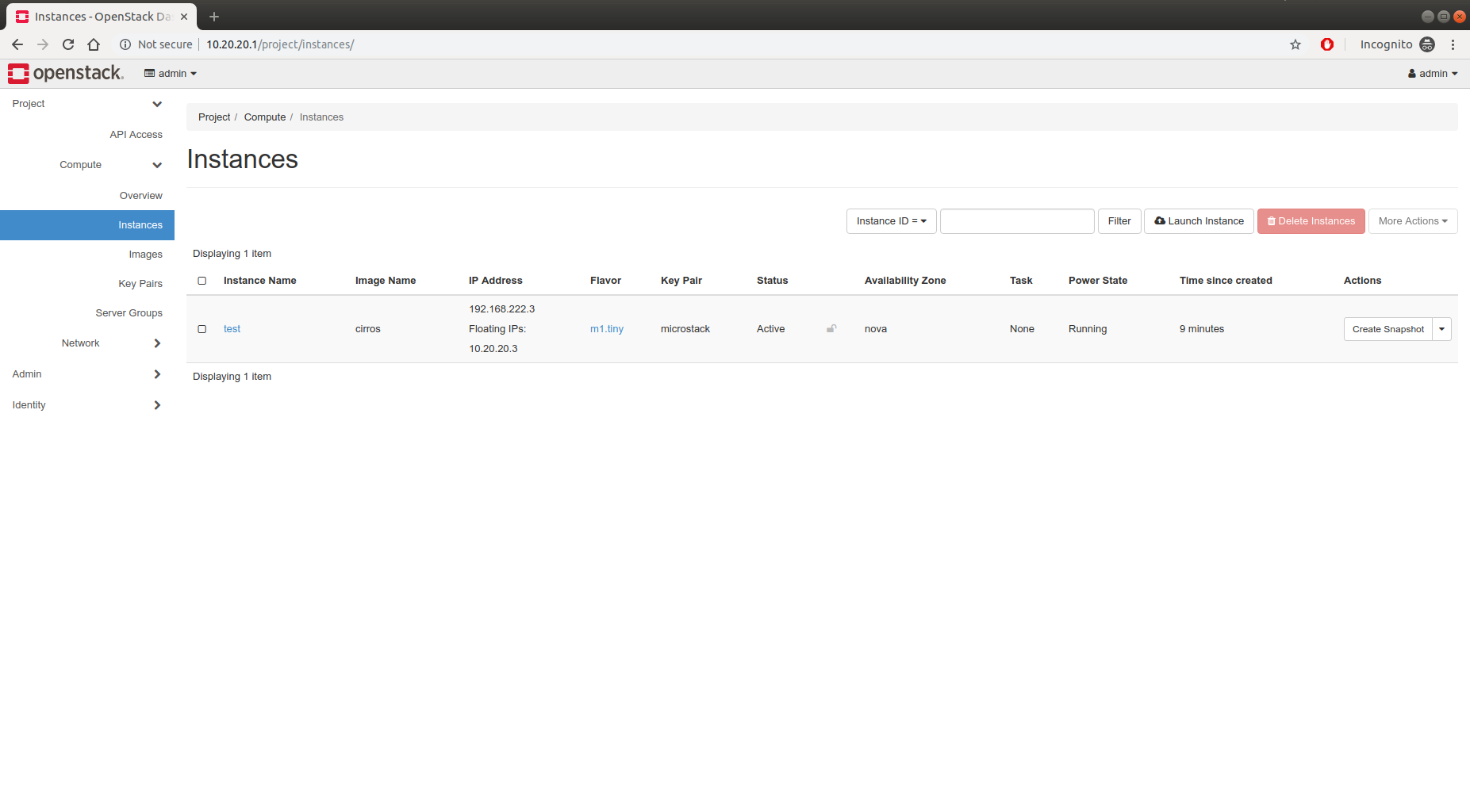 OpenStack instances page