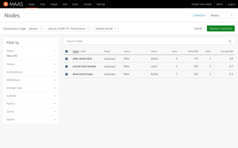 Screenshot of node deployment