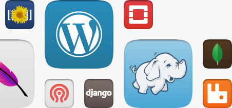 Grid of juju charm icons including wordpress, hadoop, django, MySQL, MongoDB and OpenStack