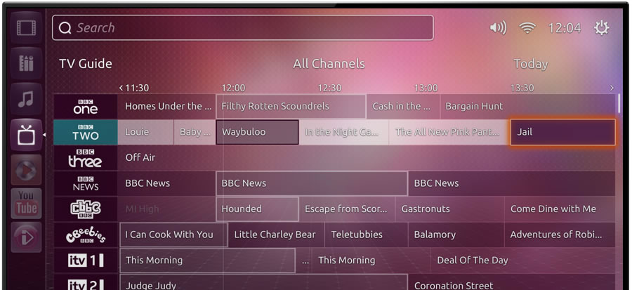Ubuntu TV browsing TV channels