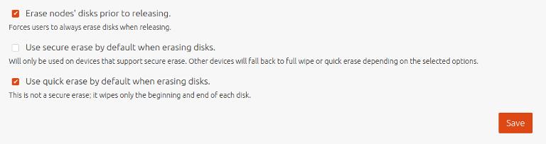 disk erasure default settings