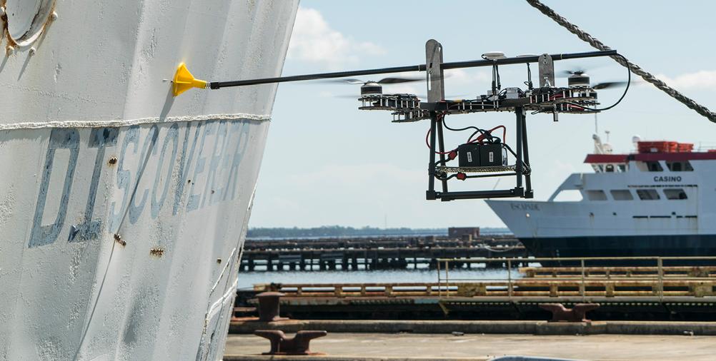 Ubuntu industrial drone inspecting a ship