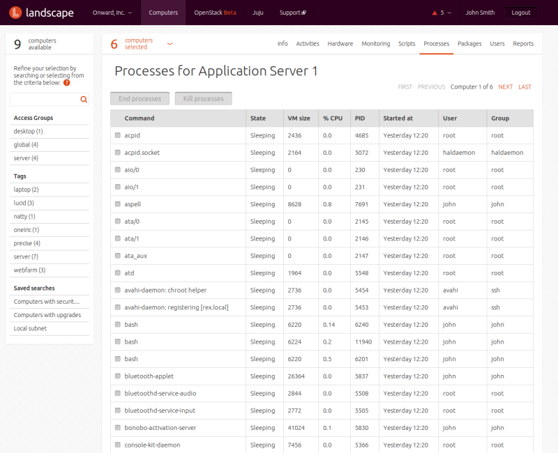 Processes for Application Server