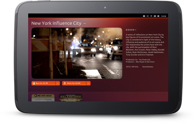 Ubuntu tablet's media player