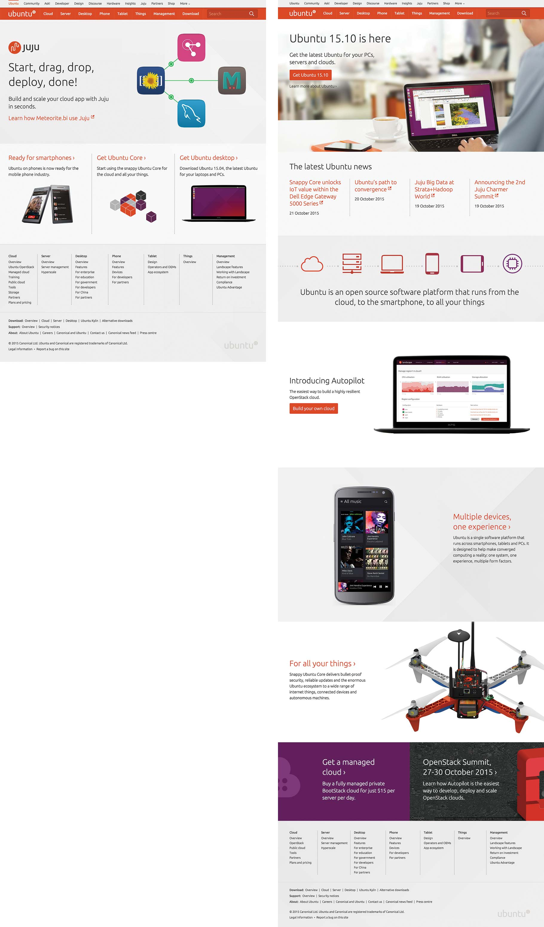 ubuntu.com homepage before and after release