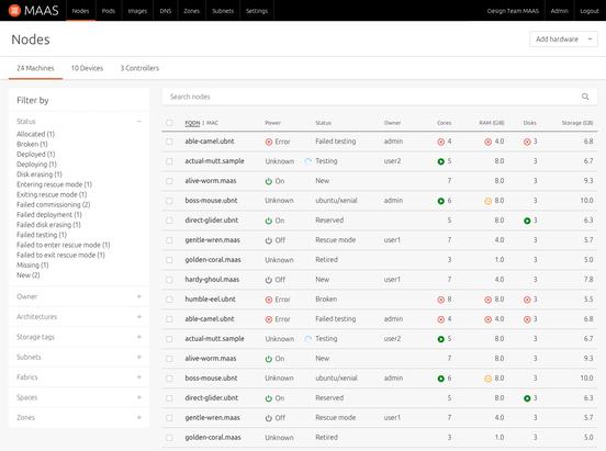 MAAS node listing