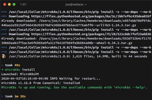 macOS terminal installing MicroK8s