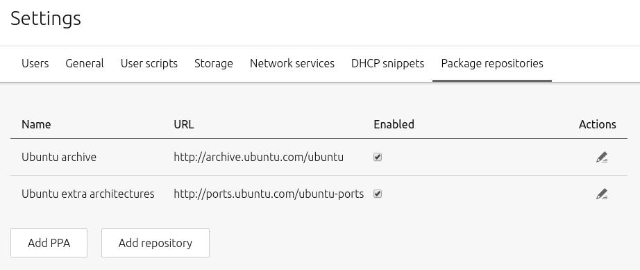 default repositories config
