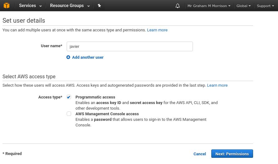 Amazon IAM set user details