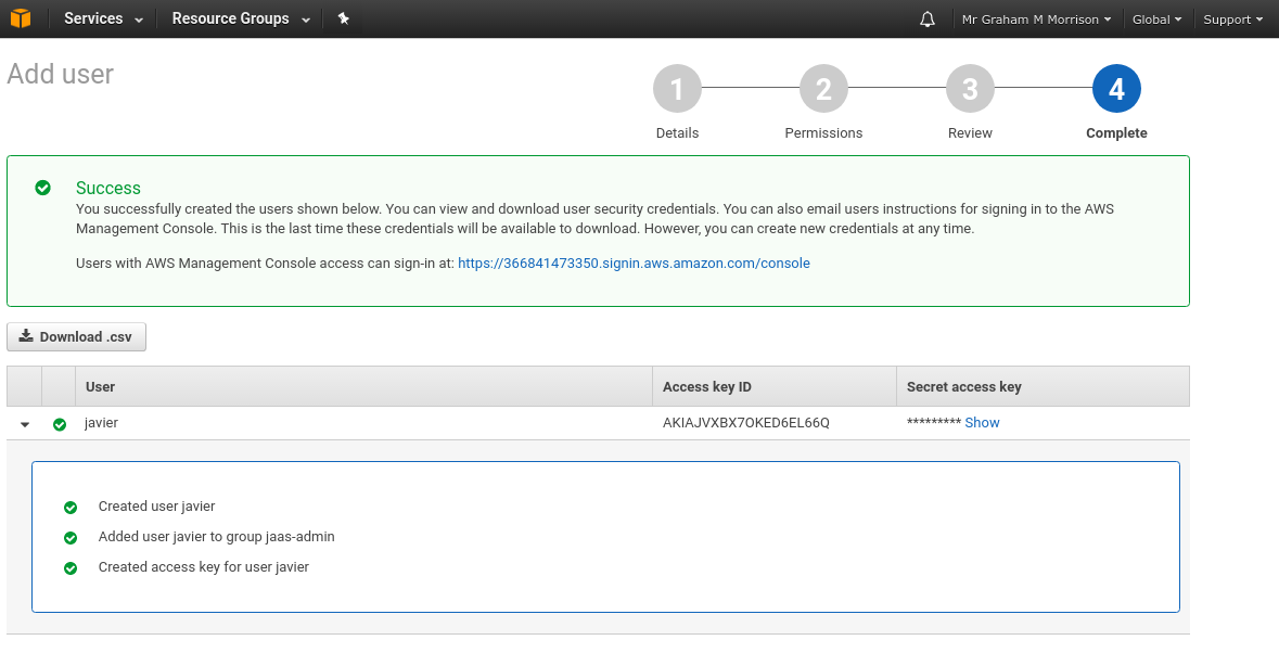 Amazon Access Credentials page showing key values