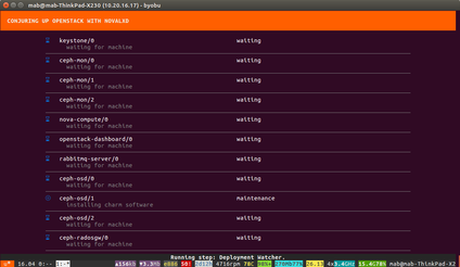 conjure-up's status screens, showing a number of applications status