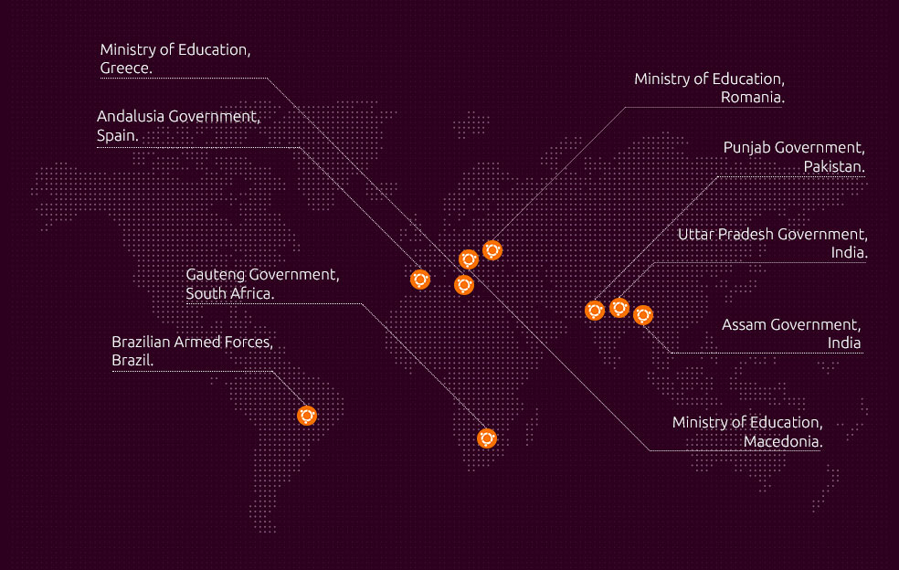 map of key government users of Ubuntu