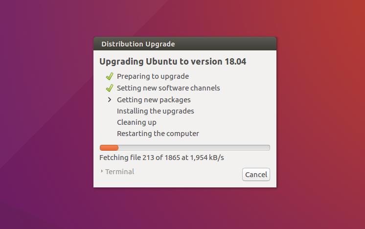 Upgrade progress