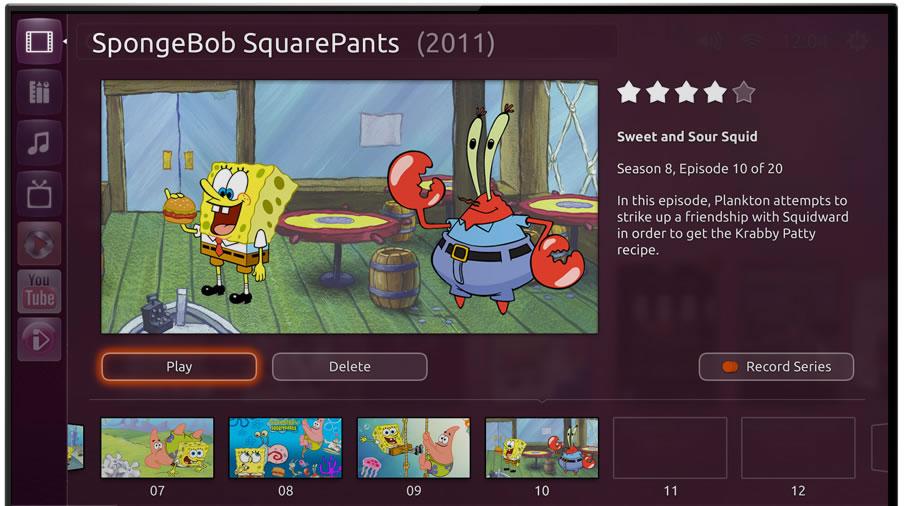 Ubuntu TV select recorded program to play