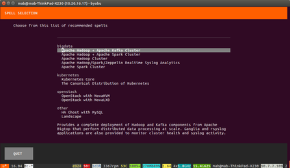 conjure-up's opening wizard in command line