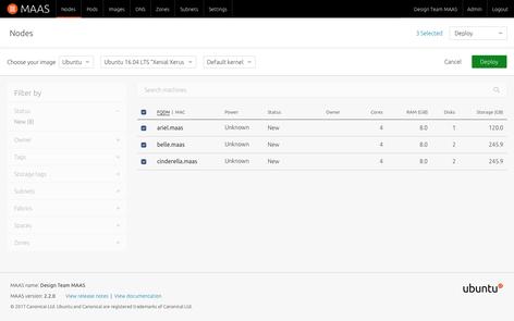 Screenshot of node deployment