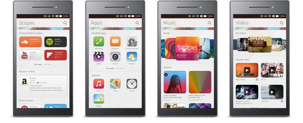 Ubuntu phones side by side show the consistancy between different screens