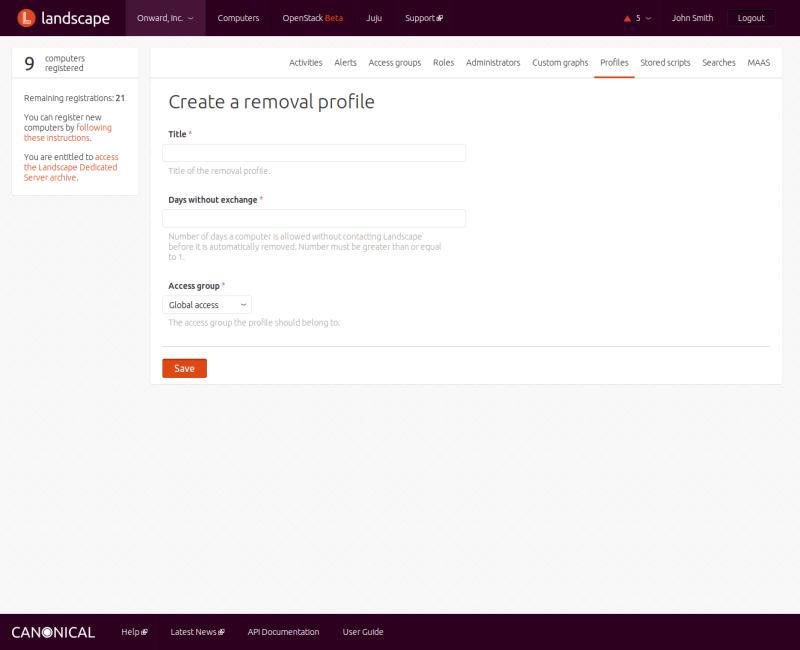 Create removal profile