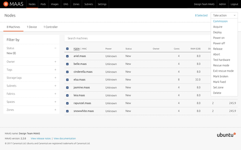 Screenshot of node listing actions