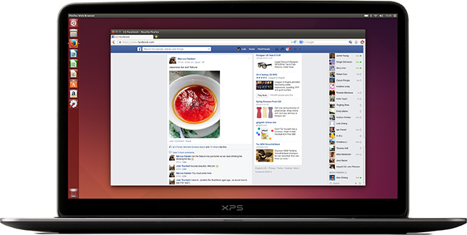 Facebook loaded Firefox running on Ubuntu