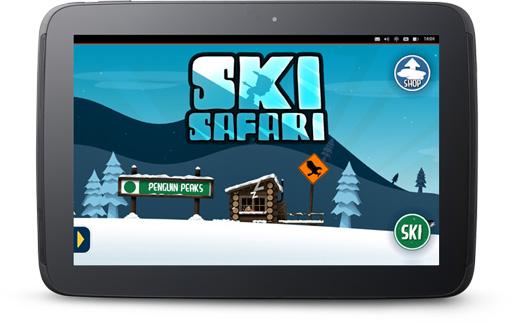 Ski Safari game running on an Ubuntu tablet