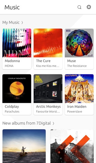 Screenshot of Music selection on Ubuntu phone